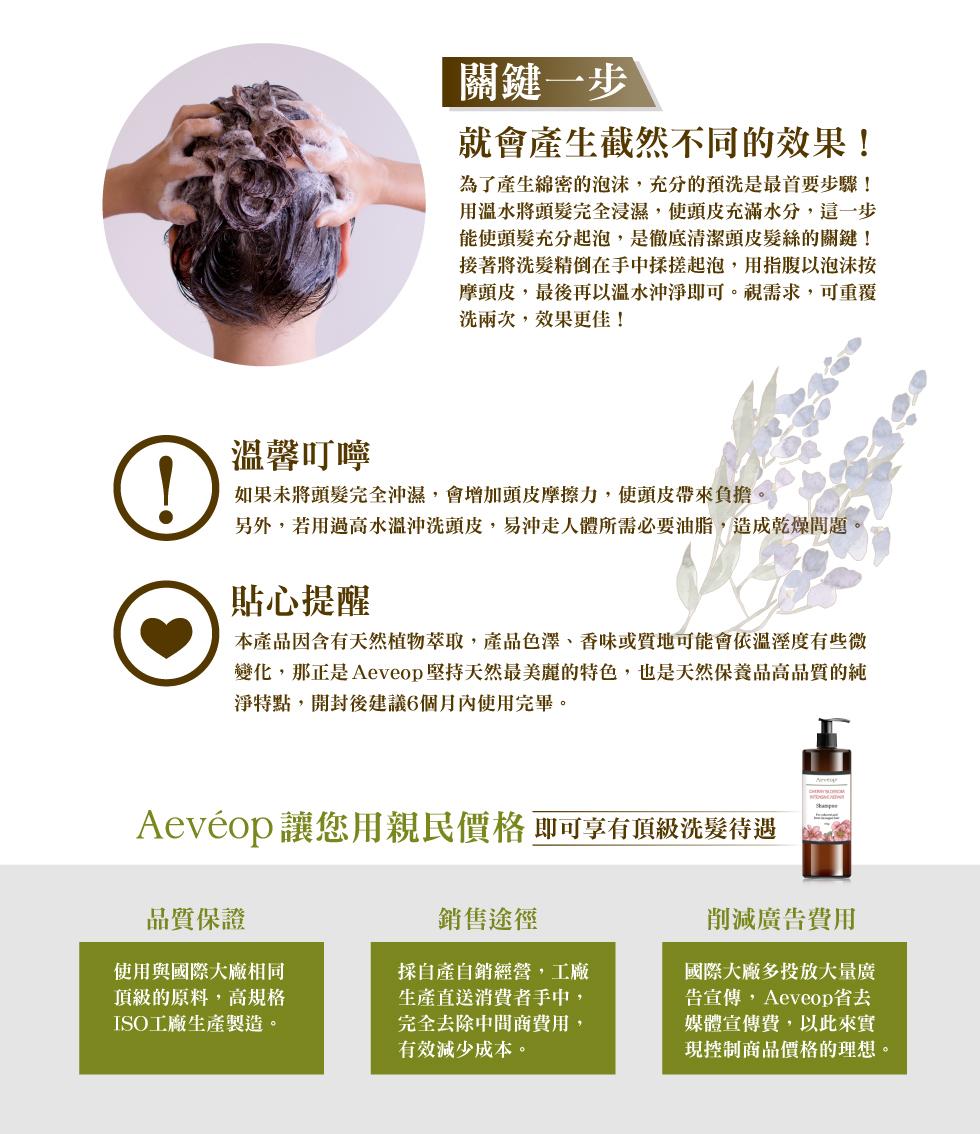 Aeveop 櫻桃花極致修護洗髮精 使用方法