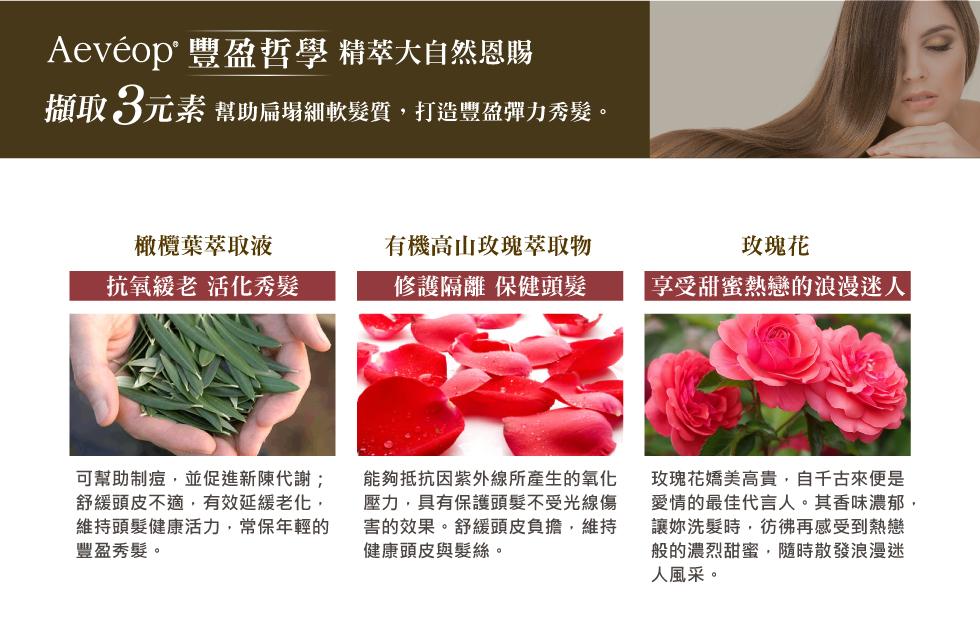 Aeveop 玫瑰花豐盈養護洗髮精 成分 橄欖葉萃取 有機高山玫瑰萃取 玫瑰花